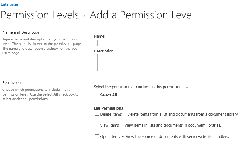 Adding SharePoint Permissions Level