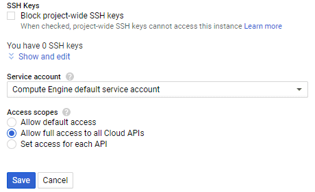 Allow full access to all Cloud APIs must be enabled to have write permissions for the bucket used for backup to Google Cloud.