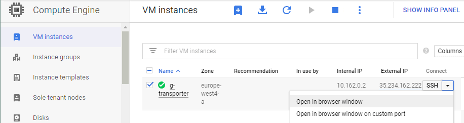 Connecting to the Google Cloud Instance via SSH for management and configuring backup to Google cloud.