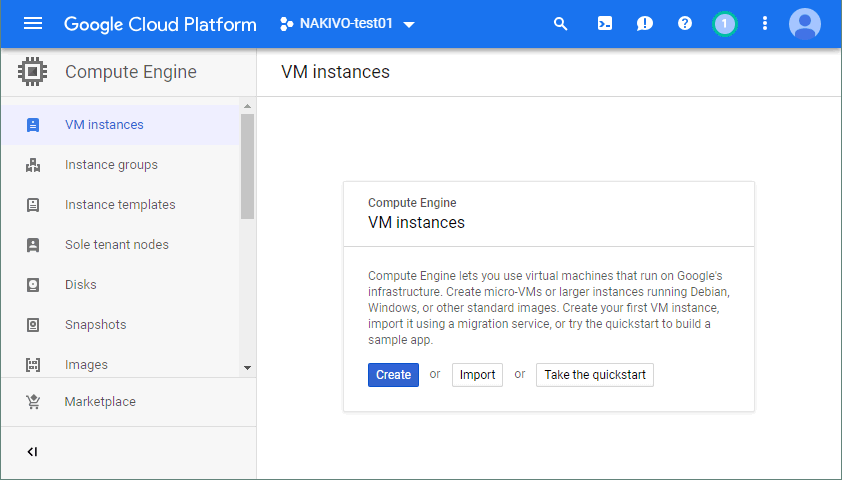 Creating a new Google Cloud instance.