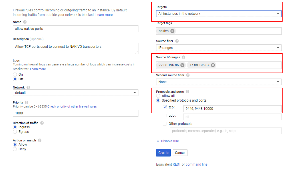 Creating a new firewall rule in Google Cloud to make possible network connections between Transporters used for backup to Google Cloud with NAKIVO Backup & Replication.