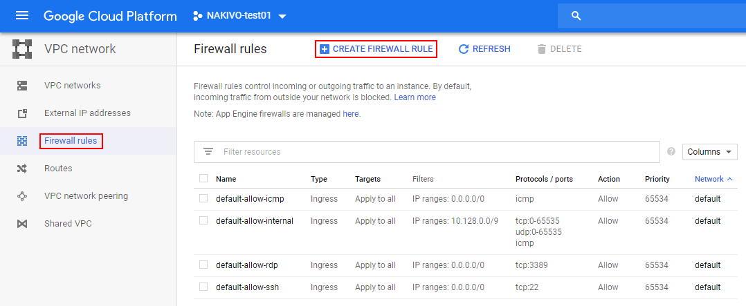 Editing firewall rules in Google Cloud.