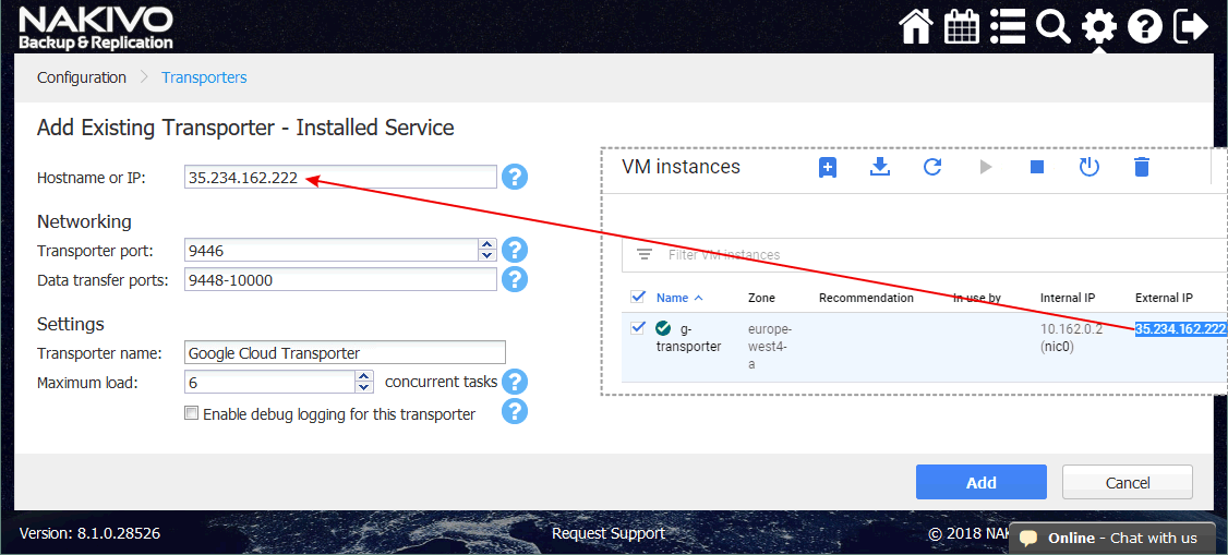 Entering the IP address and other settings for the new Transporter running on the Google Cloud Instance.