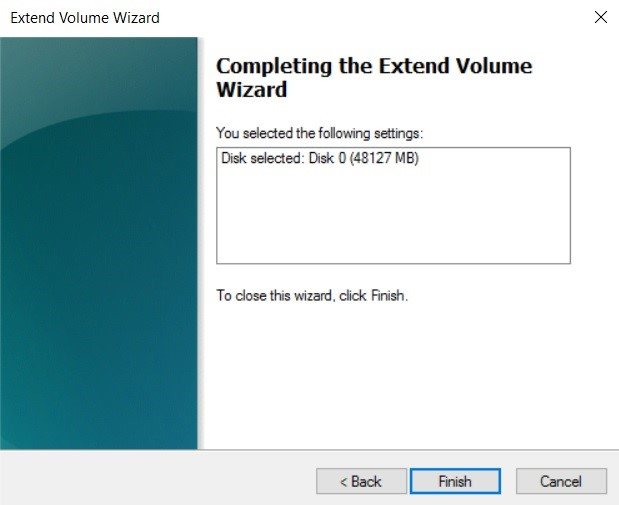 Completing the Wizard (Increase Disk Size in Hyper-V)