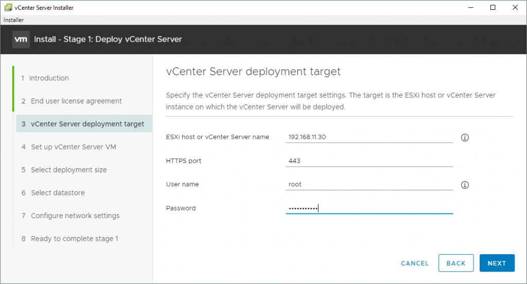 Selecting-the-VMware-vCenter-Server-7-deployment-target
