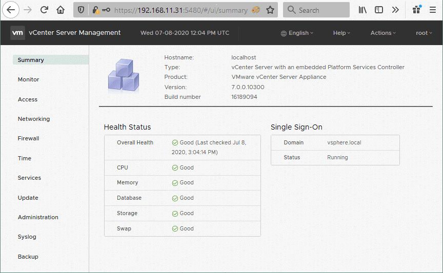 VMware-vCenter-Server-management-interface