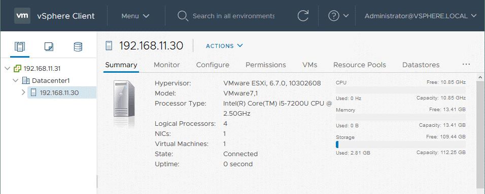 VMware-vSphere-setup_the-ESXi-host-is-added-to-the-datacenter-in-vCenter-7