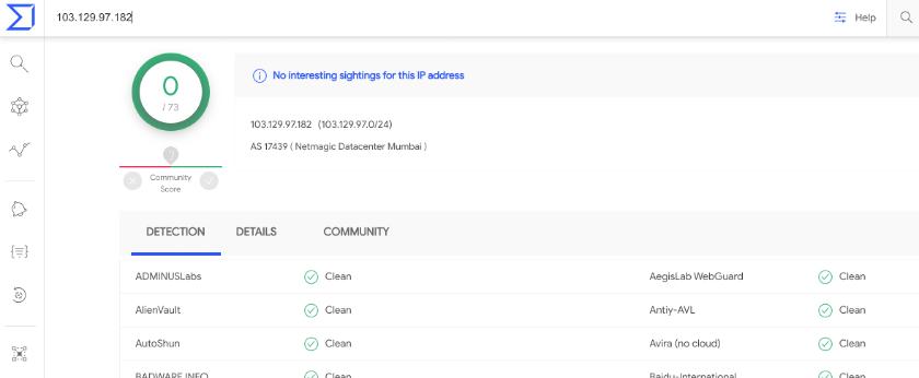 VT result against one IP address