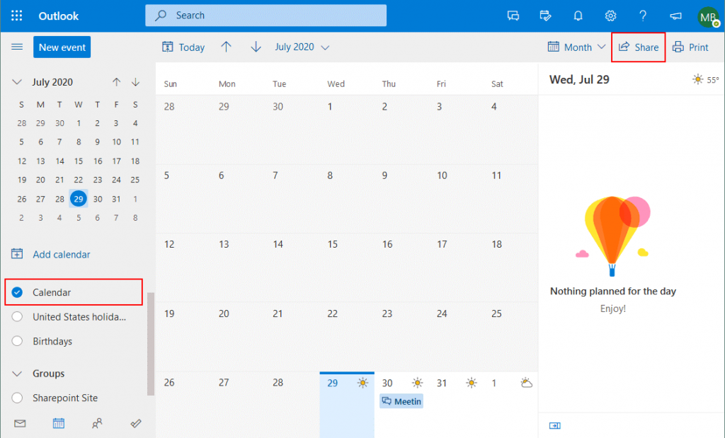 Starting-Office-365-calendar-sharing-in-a-web-interface