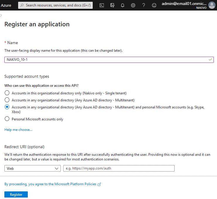 Registering-NAKIVO-Backup-&-Replication-as-an-application-for-OneDrive-backup-in-the-Azure-portal