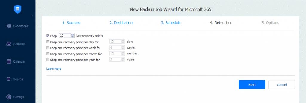 Retention-settings-for-a-OneDrive-backup-job-in-NAKIVO-Backup-&-Replication