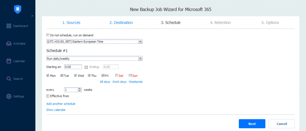 Scheduling-options-for-the-OneDrive-backup-job