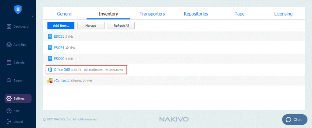 The-Office-365-account-is-added-to-the-Inventory-of-NAKIVO-Backup-&-Replication