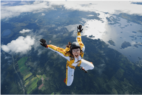 SD-WAN security trade-offs - skydiver in air