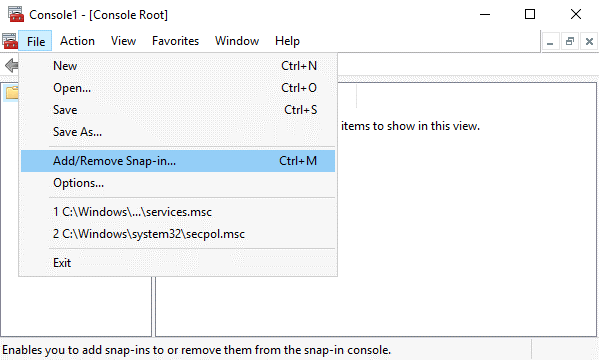 Adding a snap-in in Microsoft Management Console