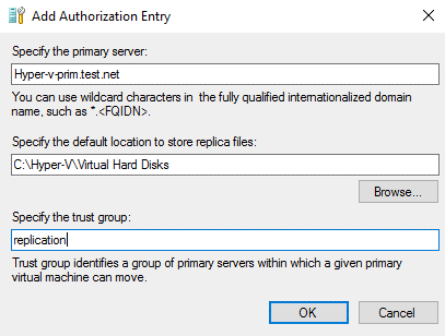 Adding the authorization entry