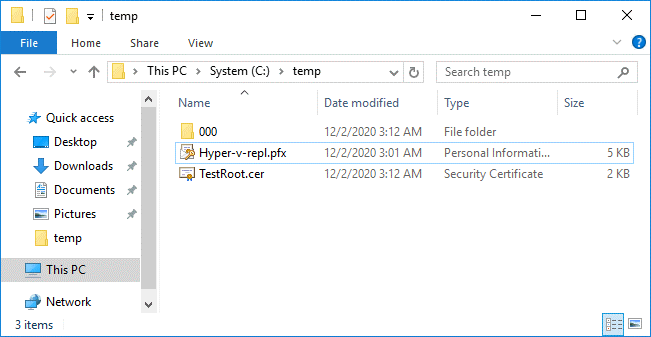 Certificates are exported to files