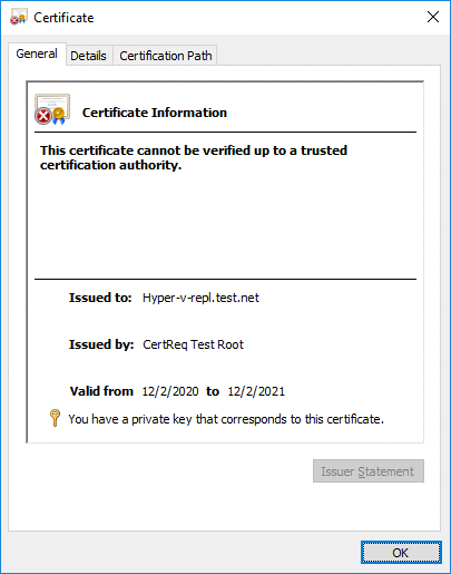 Checking certificate parameters