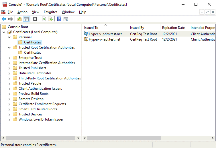 Create self-signed certificates and then check them in MMC