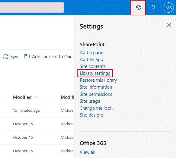 How to open library settings in SharePoint Online