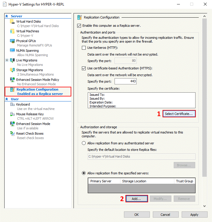 Hyper-V replication configuration on the secondary server