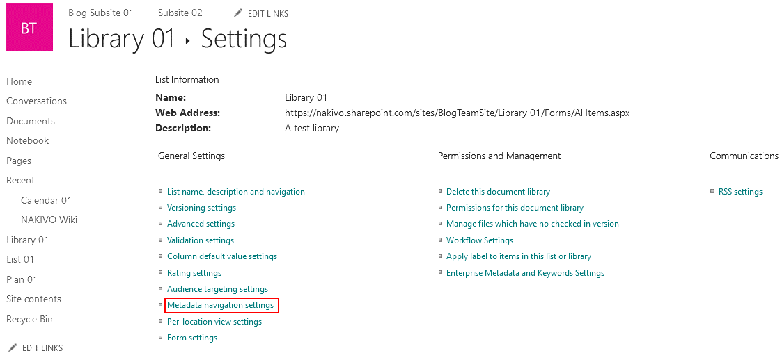 Metadata navigation settings