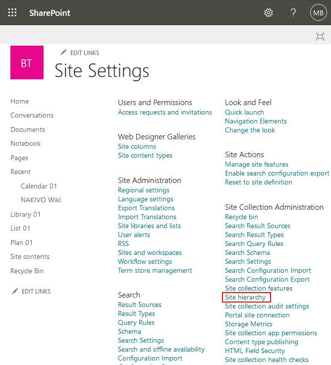 Opening site hierarchy by using SharePoint management tools