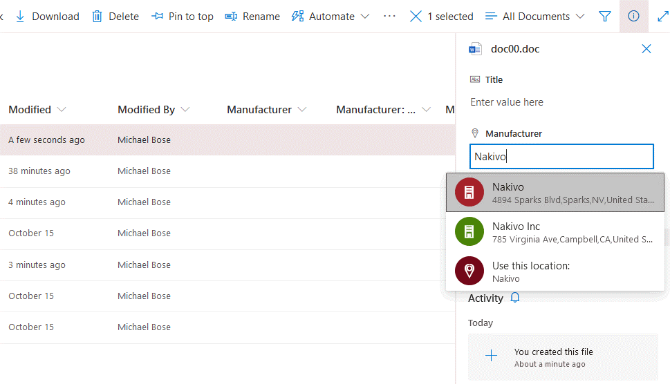 SharePoint document management – entering metadata for a file