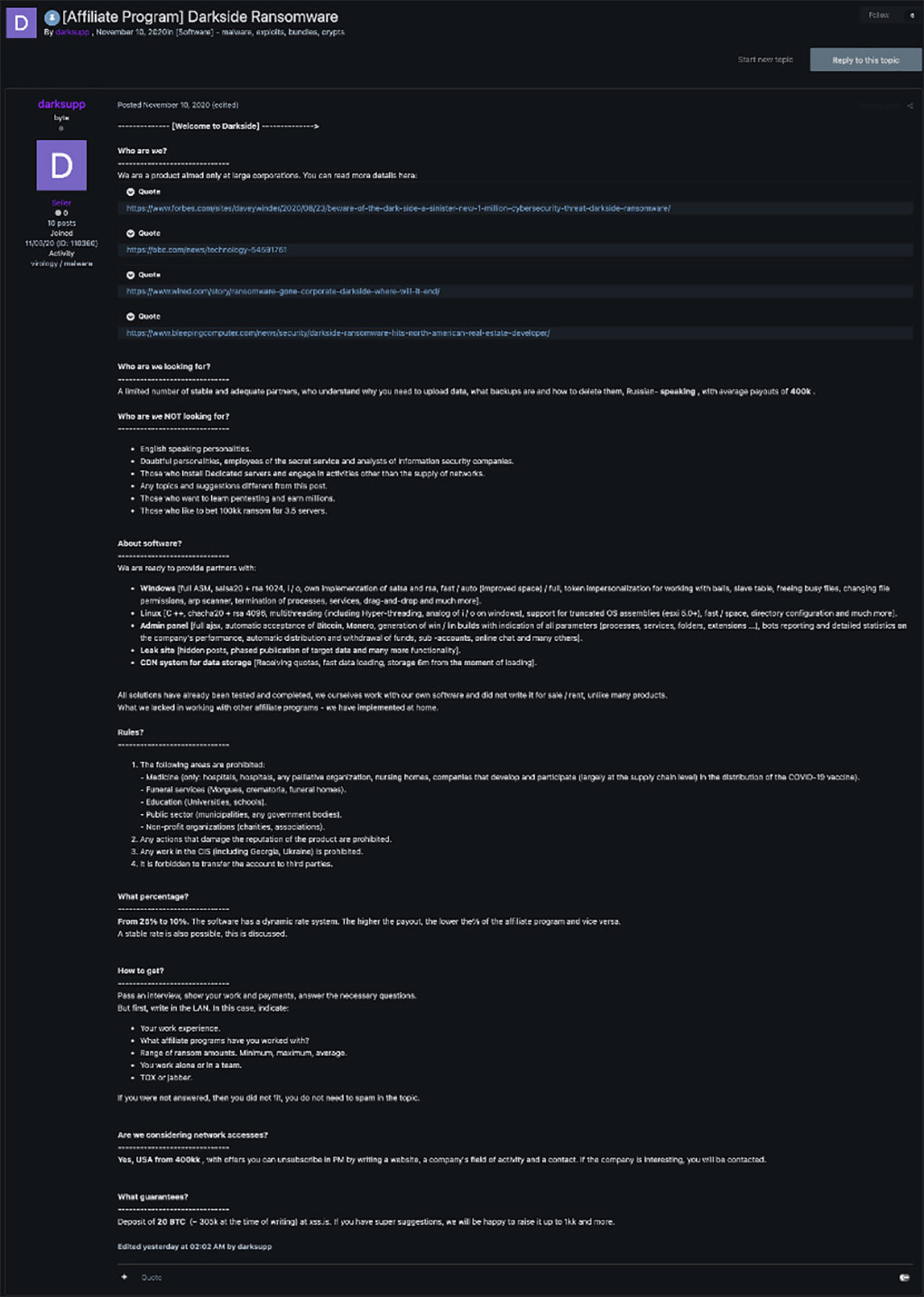 a recent example of a recent post by the ransomware group, Darkside