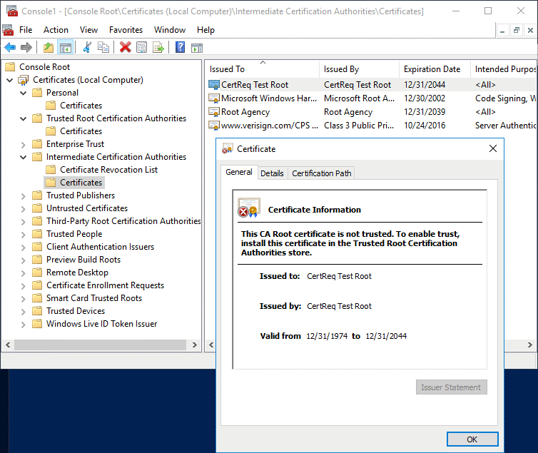 Windows certificate authority – checking the root certificate