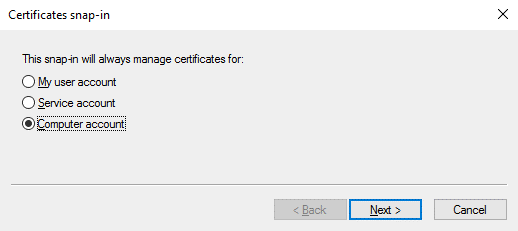 Windows certificate manager – adding a snap-in for a computer account