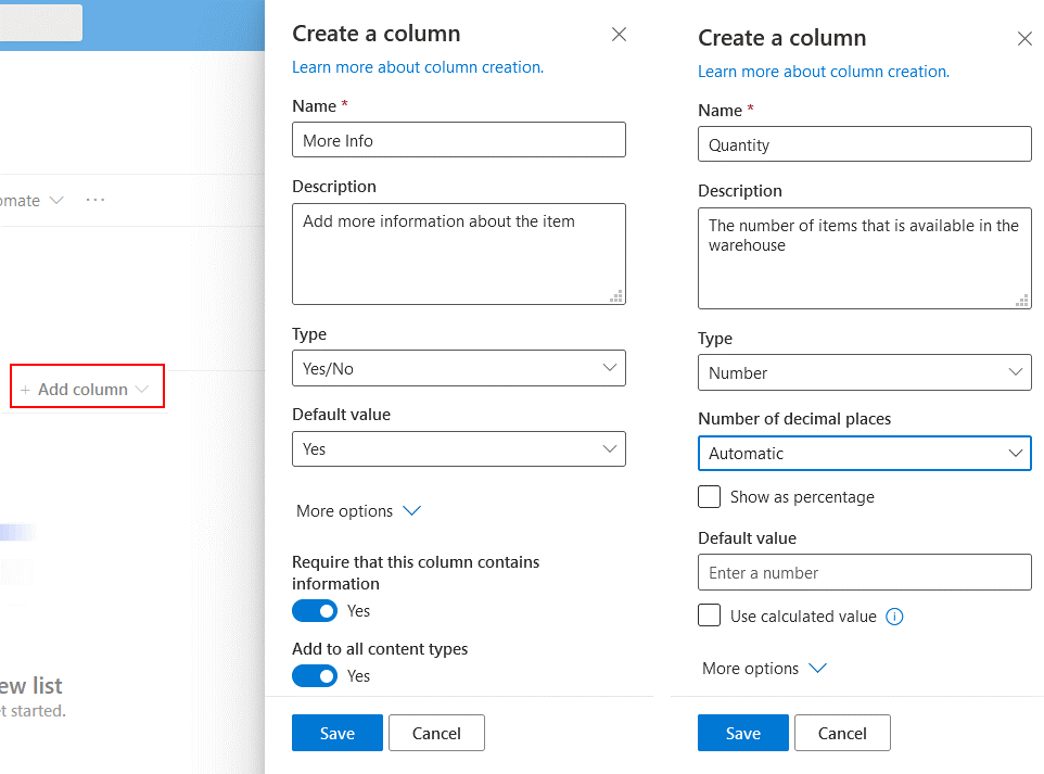 Adding columns to a SharePoint list before creating SharePoint forms