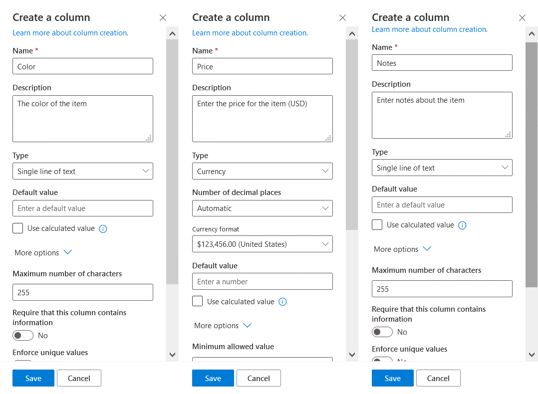 Adding columns to a list in SharePoint Online