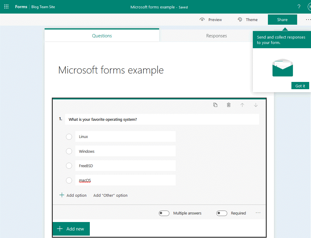 Adding questions to the new poll in Microsoft Forms