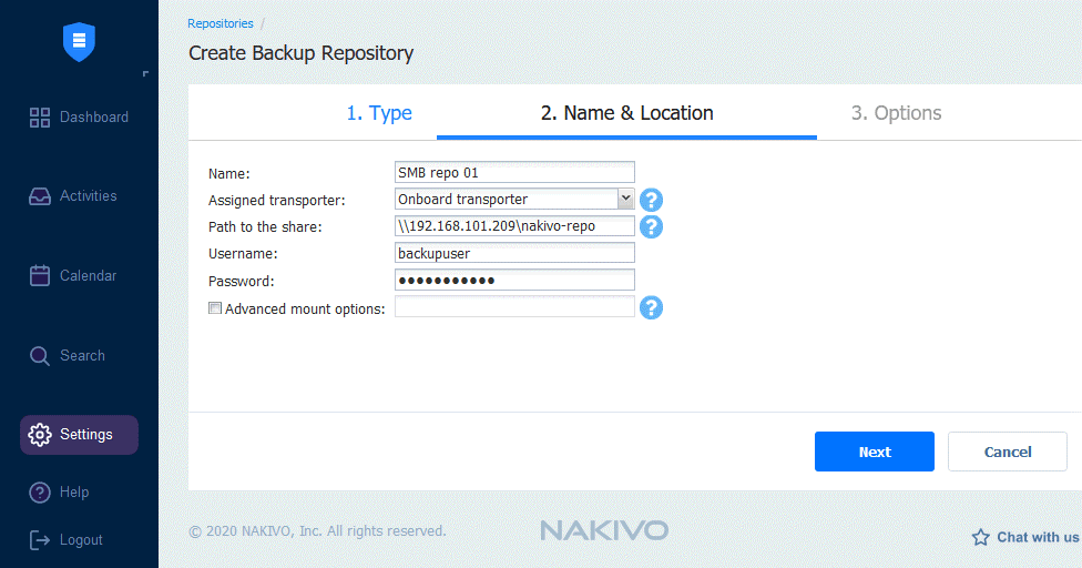 Configuring a name and location for a new backup repository using an SMB share