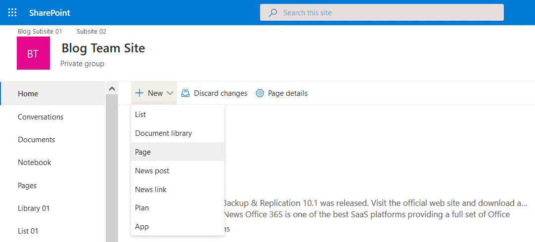 Creating a new page for a site in SharePoint Online