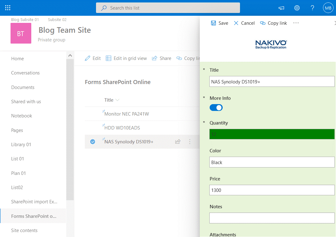 The field is filled with the green color in a SharePoint form if the value is 1 or more