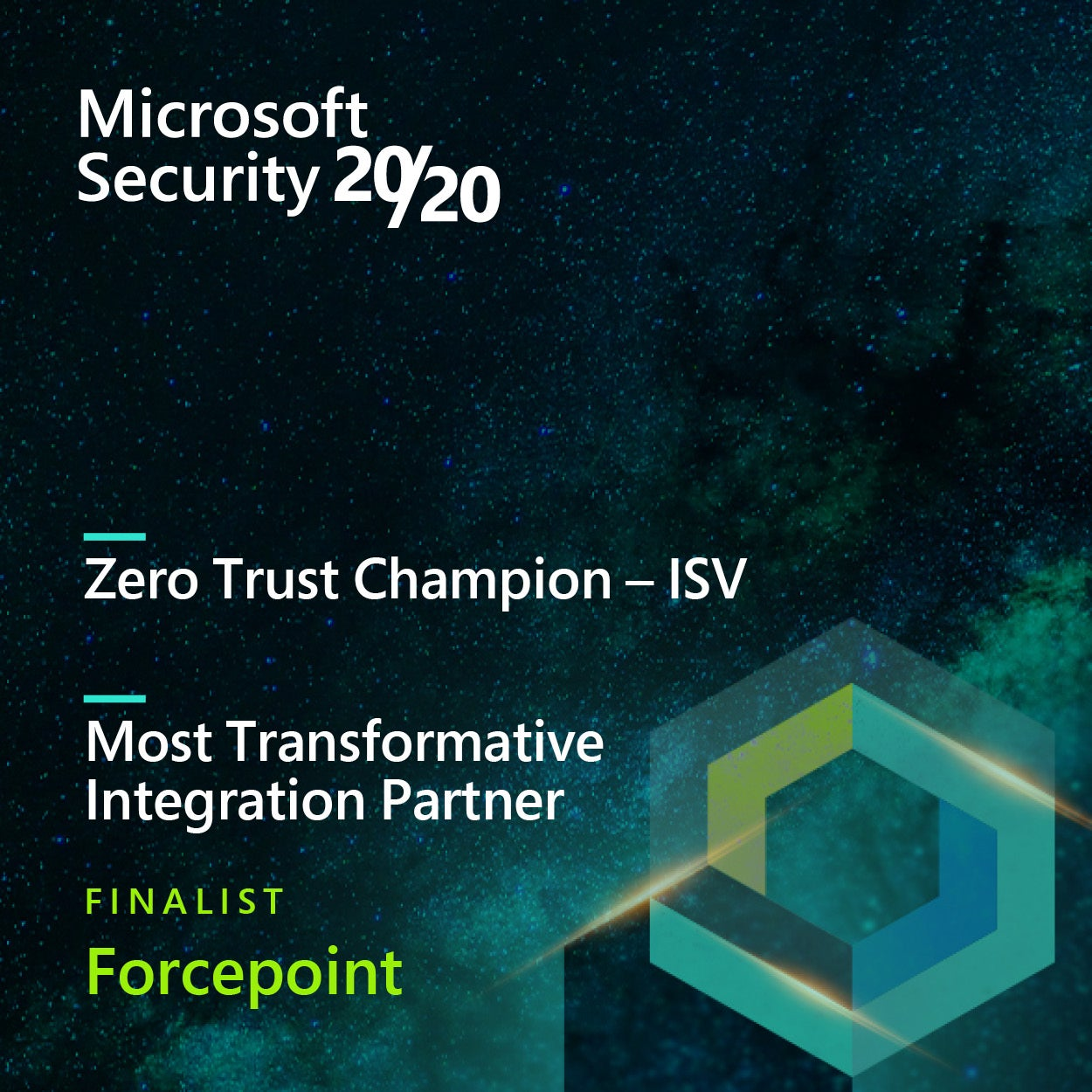 Forcepoint Named Finalist in two Microsoft Security 20/20 Awards Categories