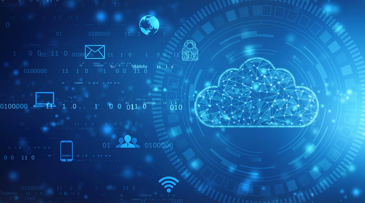 Abstract image of cloud network modern work for OpenText Cloud Edition (CE) 21.1 launch