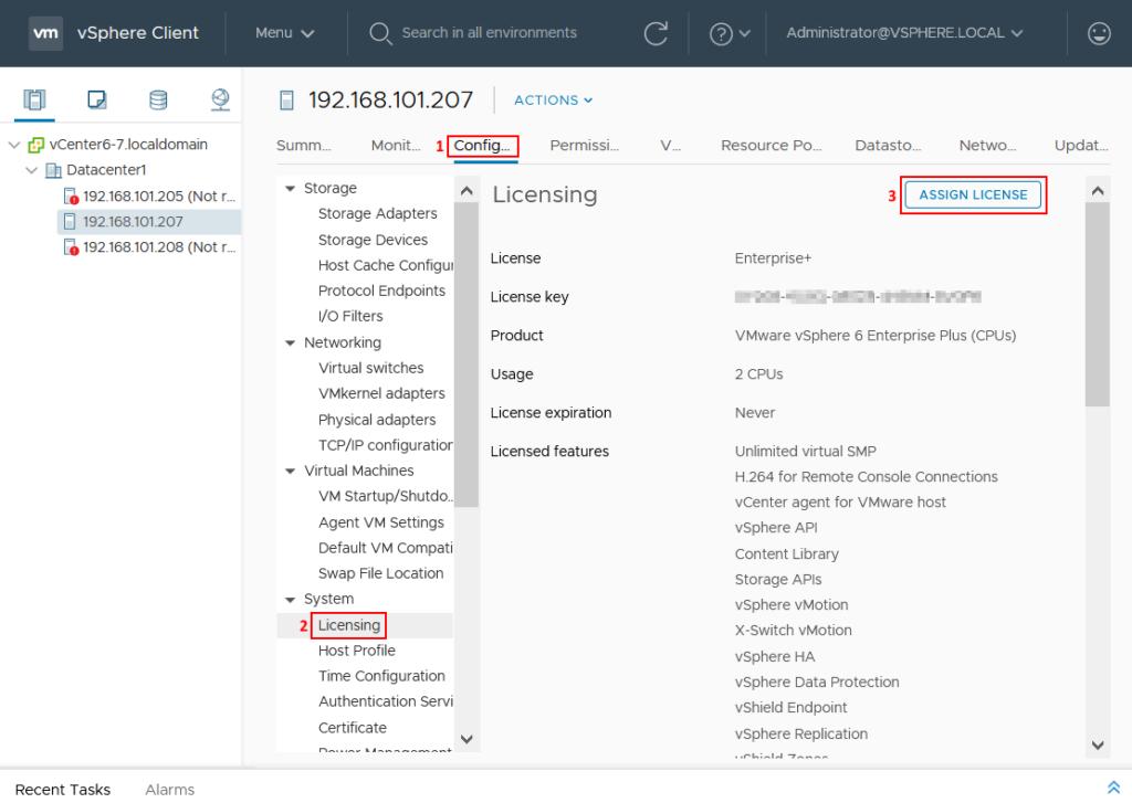 Assigning the ESXi 6 license in vCenter Server 6