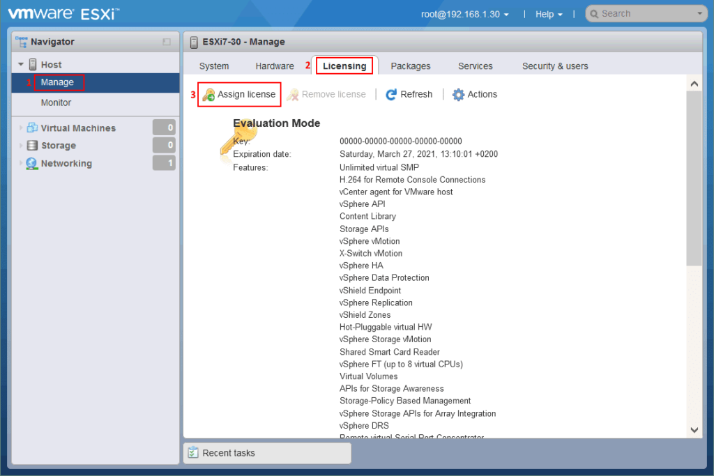 VMware ESXi licensing